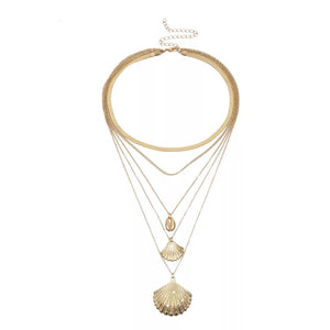 Gold-tone-multi-layered-necklace-cowrie-shell