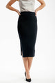 Knitted-slit-Skirt-black