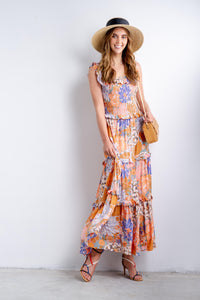 Isabella Off-the-shoulder Floral Maxi Dress-Ellie Code