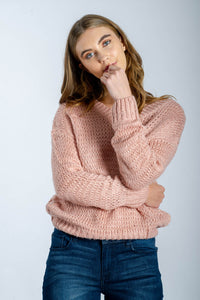 Open-knit-sweater-v-neck-pink