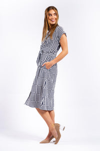Valeria Tie-up Cotton Midi Dress-Ellie Code