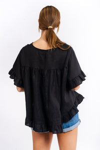 Cali Linen Top - BLACK-Ellie Code