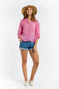 Tessa Linen Blouse - HOT PINK-Ellie Code