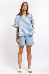 Cali Linen Top - BABY BLUE GINGHAM