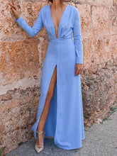 Load image into Gallery viewer, Solid Color V Neck Split-side Maxi Dress