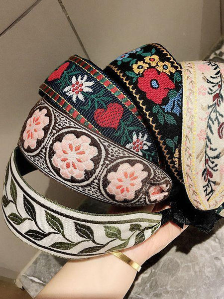 Ethnic Style Retro Embroidery Flowers Small Fresh and Wide-sided Headband