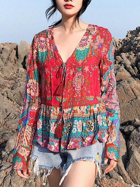 Floral Loose Long Sleeves Lace Up Blouses Shirt Bohemian Tops