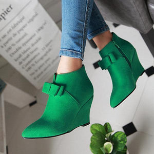 Big Size Butterfly Knot Wedge Heel Zipper Platform Ankle Boots