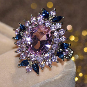 Cute Blue Pink Flower Finger Vintage Rings for Women Fashion Jewelry