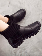 Load image into Gallery viewer, Winter Causal Genuine Leather Mid Calf Flat Boots