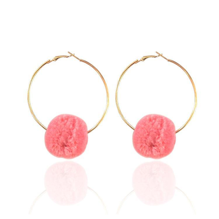 Big hoop earrings ethnic pompom earrings for women charm BOHO bohemia style