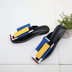 Baotou Sandals Color Matching Patent Leather Flat Bottom Large Size Women Shoes Half Drag