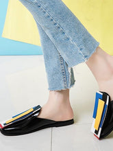 Load image into Gallery viewer, Baotou Sandals Color Matching Patent Leather Flat Bottom Large Size Women Shoes Half Drag