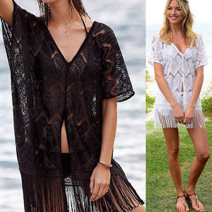 Fashion Women Lace Blouses Cover Up Lace Crochet Kaftan Short Sleeve Summer Beach Wear Casual Women Clothes