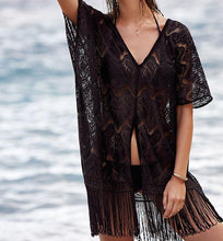 Load image into Gallery viewer, Fashion Women Lace Blouses Cover Up Lace Crochet Kaftan Short Sleeve Summer Beach Wear Casual Women Clothes