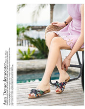 Load image into Gallery viewer, Bohemian Flat Heel Non-Slip Bow Versatile Beach Shoes Slippers