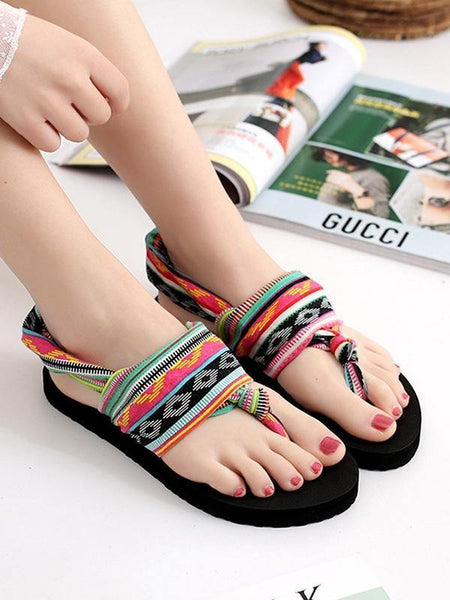 Bohemian Wrapped Flip-Flops Women Slippers Flat-bottomed Fashion Wear Non-slip Beach Shoes