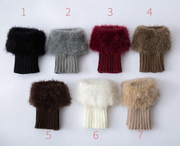 Imitation fur leg warmers knit imitation wool boots wool leggings short paragraph introverted solid color feather yarn socks