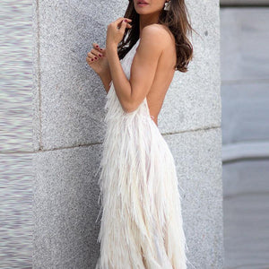 Solid Color Backless Halter Tassel Maxi Dress