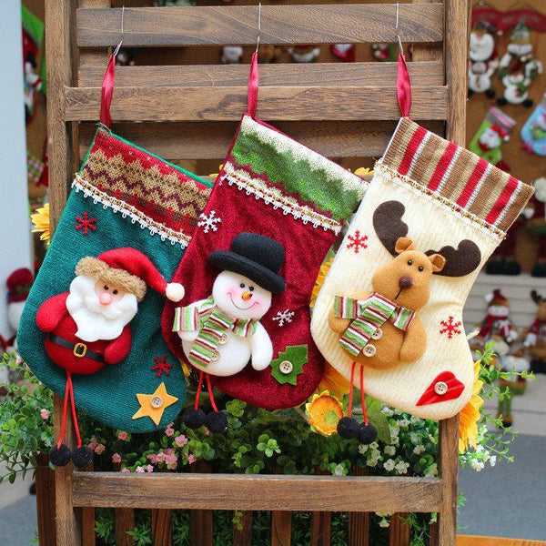 3 Style Christmas Socks Ornament Hanging Pendant Embellishment Decoration Home Party Festival Decor