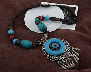 Bohemian Ethnic Style Hand-Woven Colorful Jewel Necklace