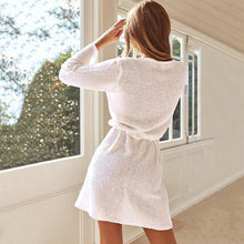 Load image into Gallery viewer, Winter Loose V-Neck Knitted Lace Long Sleeve Dress