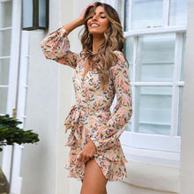 Load image into Gallery viewer, V Collar Long Sleeved Printed Irregular Lotus Leaf Edge Dress