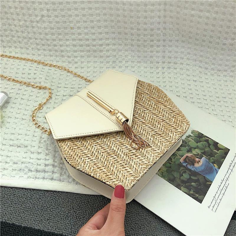 Texture Fashion Tassel Knitted Linen Single Shoulder Slung Small Square Bag