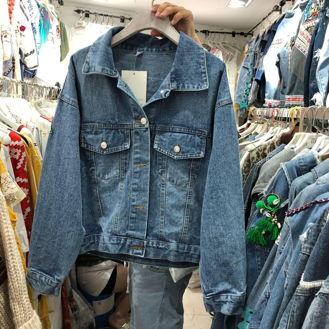 Heavy Industry Embroidery National Style Retro Old Loose Lapel Holiday Long Sleeve Denim Coat