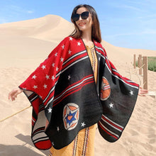 Load image into Gallery viewer, Ethnic style stars imitation cashmere split cloak shawl female autumn and winter fashion thick striped travel striped shawl scarf
