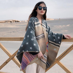 Ethnic style stars imitation cashmere split cloak shawl female autumn and winter fashion thick striped travel striped shawl scarf