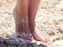 Load image into Gallery viewer, Fashion minimalist retro carved turquoise tassel with anklet foot accessories