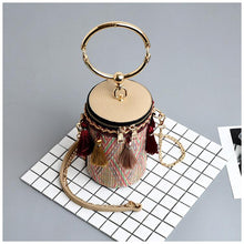 Load image into Gallery viewer, Fringe Barrel Chain Crossbody Woven Bag