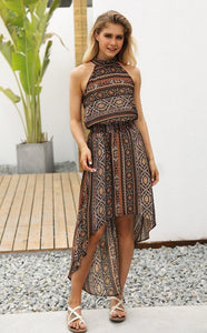 2018 Vintage Sleeveless Irregular Maxi Dress