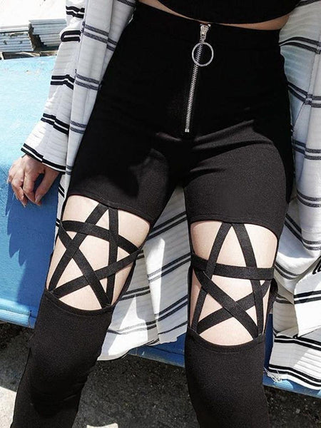 Gothic Hollow Out Pentagram Black Leggings Women Pencil Cool Sexy Pants