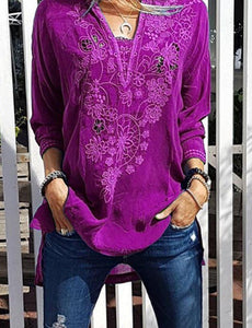 new v-neck long-sleeved lace blouse for autumn  winter