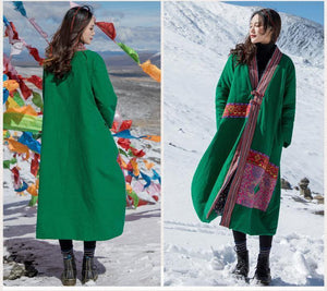 Winter ethnic wind oversize women's cotton-padded jackets