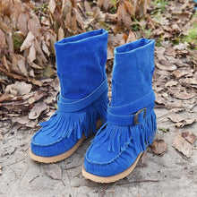 Load image into Gallery viewer, Tassel Flat Sole Large Buckle Hand Sewn National Style Cotton Boots