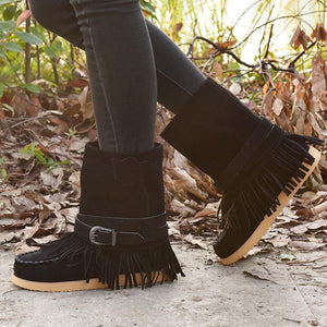 Tassel Flat Sole Large Buckle Hand Sewn National Style Cotton Boots