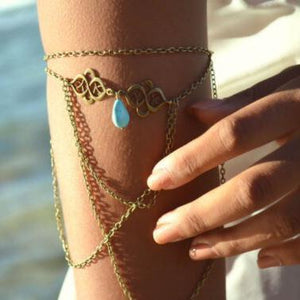 Vintage engraved auspicious turquoise water droplets multi-tassel arm chain bracelet