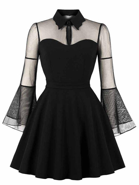 Women Gothic Sexy Black Mesh Patchwork See-Through Flare Sleeve Draped Elegant Mini Dress