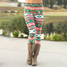 Load image into Gallery viewer, Green Geometric Pattern Christmas Warm Leggings