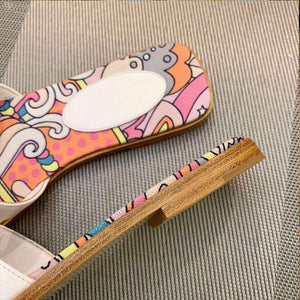 Spring and Summer New ins Tide Flat Slippers Casual Color Wear Outside Beach H Sand Drag
