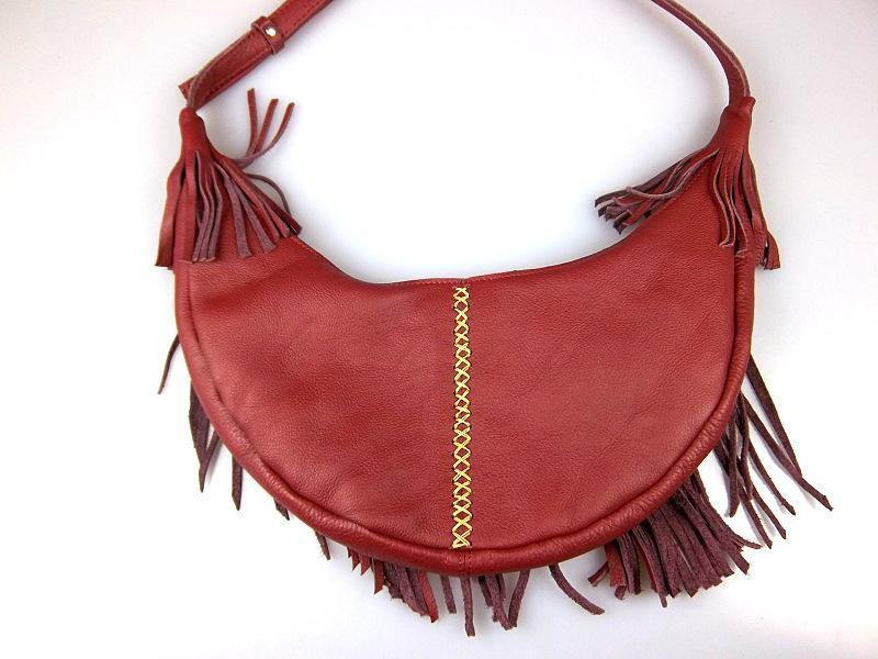 Women Handmade Leather Bag Classic Wild Tassel Crossbody Leather Bag