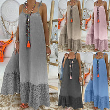 Load image into Gallery viewer, Boho Solid Color Sleeveless Suspender Dress Loose Long Dress
