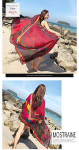 Red Dot National Style Vacation Printing Sunscreen Scarf Shawl Beach Towel