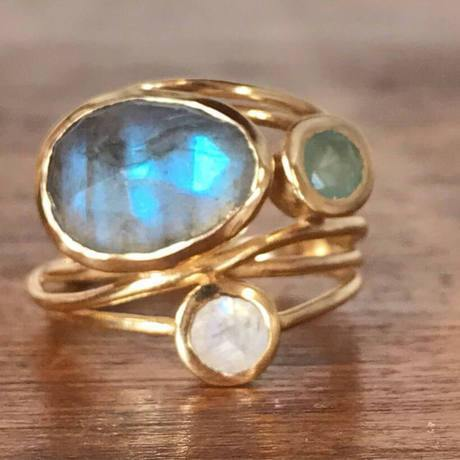 Plated inlaid colorful moonstone ring  beauty creative multi-layer simulation shell ring