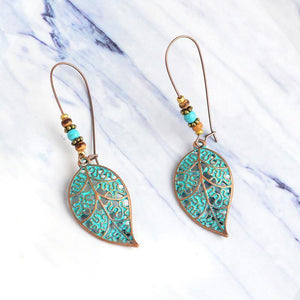 Retro Openwork Leaves Beads Pendant Stud Earrings