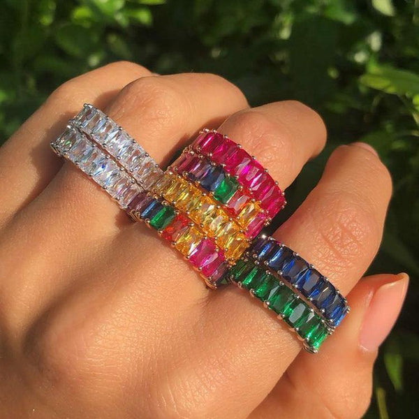 Net red zircon ring Rainbow ring Gradient ring