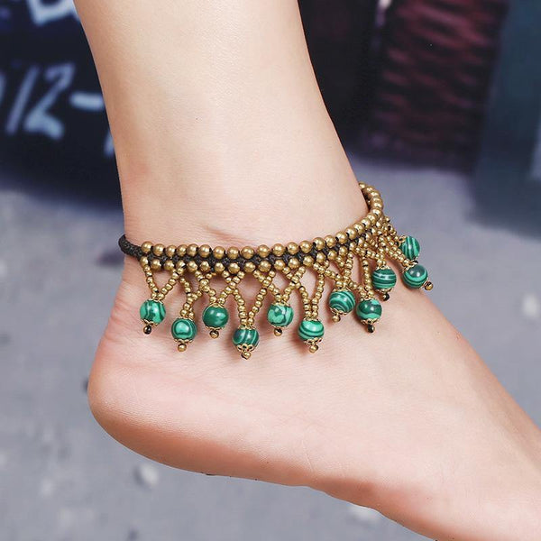 National wind foot decoration beach new multi-layer ball beads turquoise woven anklet female retro original
